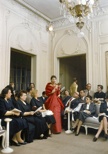 """Dior fashion model Victoire wearing """"Zaire"""" dress from the Autumn-Winter Haute Couture collection H Line1954© 2013 Mark Shaw - Image 3956_0935"""