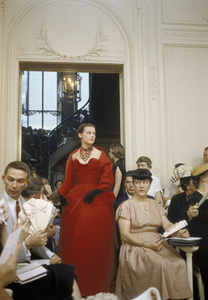 """Dior fashion model wearing """"Chimene"""" dress (Autumn-Winter Haute Couture collection, H line)1954© 2013 Mark Shaw - Image 3956_0936"""
