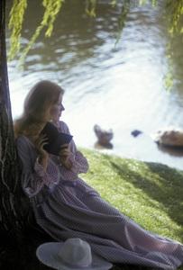 Fashion model reading by a lake1973 © 1978 Sid Avery - Image 3956_0955
