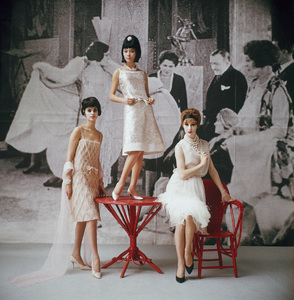 """Dior fashion model (left) wearing """"Annees Folles"""" dress (Spring-Summer Haute Couture collection, Slim Look line)1961© 2013 Mark Shaw - Image 3956_0978"""