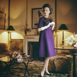 Dior fashion model wearing an ensemble from Spring-Summer Haute Couture collection, Silhouette de demain line1960© 2013 Mark Shaw - Image 3956_1000