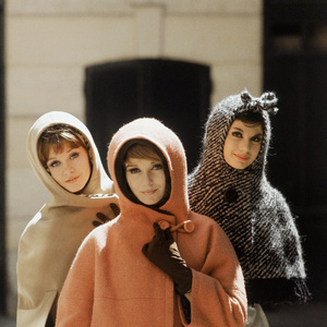 """Dior models wearing """"Jungle,"""" """"Canada"""" and """"Amsterdam"""" ensembles  (Autumn-Winter Haute Couture collection, Charme 62 line)1961© 2013 Mark Shaw - Image 3956_1006"""