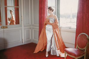 Givenchy dress and cape photographed in a Parisian residence for the September 1955 issue of LIFE magazine © 2010 Mark Shaw - Image 3956_1044