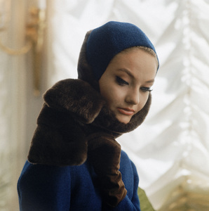 """Model in blue and fur is an outtake from the LIFE September 1961 article """"The Big Paris Word: Shape"""" © 2011 Mark Shaw - Image 3956_1056"""