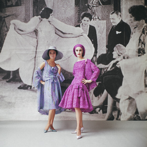 """Dior fashion model (left) wearing """"Delphinium"""" ensemble (Spring-Summer Haute Couture collection, Slim Look line)1961© 2013 Mark Shaw - Image 3956_1070"""