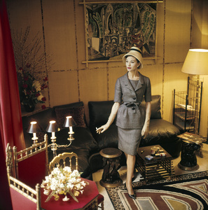 Dior fashion model wearing a day ensemble1960© 2013 Mark Shaw - Image 3956_1090