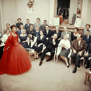 """Dior fashion model Victoire wearing the """"Zaire"""" dress (Autumn-Winter Haute Couture collection, H line) with Christian Dior, front center, at a dress rehearsal1954© 2013 Mark Shaw - Image 3956_1101"""