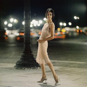 "Dior fashion model, Kouka, wearing ""Ciel de feu"" dress (Autumn-Winter Haute Couture collection, Charme 62 line)1961© 2013 Mark Shaw - Image 3956_1107"
