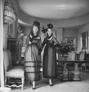 """Dior fashion models wearing """"Rosita"""" and """"lola"""" dresses by Yves Saint Laurent for the house of Christian Dior (Autumn-Winter Haute Couture collection, Courbe line)1958© 2013 Mark Shaw - Image 3956_1118"""