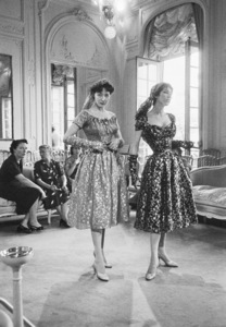 Dior fashion models wearing ensembles from the Autumn-Winter Haute Couture collection, Vivante line1953© 2013 Mark Shaw - Image 3956_1121