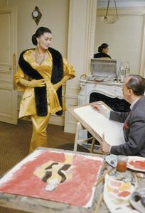 Illustrator Carl Erickson sketches Dior fashion model Alla wearing