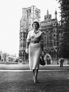 Edith Raymond Locke in front of Wells Cathedral in Somerset, England1952© 1978 Mark Shaw - Image 3956_1295