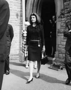 Jacqueline Kennedy leaving the Roman Catholic church at Oswestry in Shropshire after Lady Harlech
