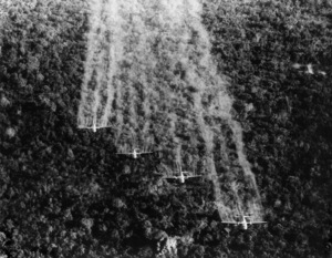(Vietnam) A flight of four United States Air Force Ranch Hand C-123s spray a Viet Cong jungle in Tan Son Nhut with a defoliating liquidSeptember 1965 - Image 4369_0014