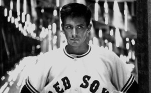 """Anthony Perkins in a Red Sox baseball uniform on the set of """"Fear Strikes Out,"""" 1957. © 1978 Bill AveryMPTV - Image 4563_1"""