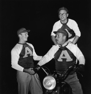 """Hollywood Entertainers Baseball Game"" (Out of this World Series)Aldo Ray, Mickey Rooney, Keenan WynnMarch 17, 1952 / Gilmore Field in Hollywood, CA © 1978 Gerald Smith - Image 4580_0001"