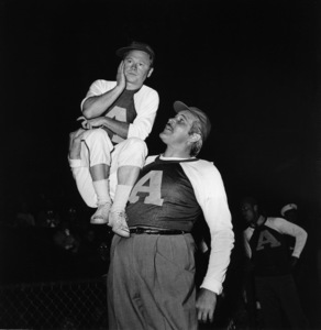 """""""Hollywood Entertainers Baseball Game"""" (Out of this World Series)Mickey Rooney, Buddy BearMarch 17, 1952 / Gilmore Field in Hollywood, CA © 1978 Gerald Smith - Image 4580_0004"""