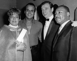 Dr. Martin Luther King Jr. with Simone Signoret, Harry Belafonte and Yves Montand in Paris to raise funds for his Southern Christian Leadership Conference1966 - Image 4606_0016