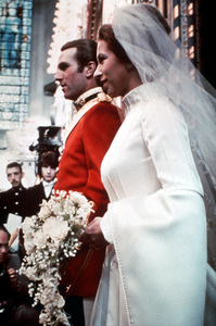 Princess Anne and husband Captain Mark Phillipsleaving Westminster Abbey after the ceremonyNovember, 14, 1973 - Image 4616_0004