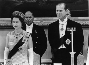 Queen Elizabeth II and Prince Philip in Ottawa, Canada standing in grace before the State Dinner in their honor at Government House1967 - Image 4618_0015