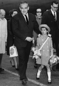 Prince Rainier of Monaco and his eight-year-old daughter, Princess Caroline, arrive at Idlewild AirportApril 17, 1963 - Image 4715_0002