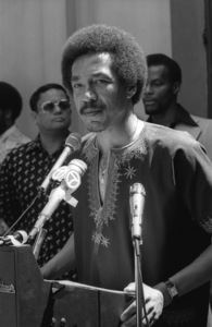 """Smokey Robinson talking about Stevie Wonder on """"Stevie Wonder Day"""" in Los Angeles11-18-1974© 1978 Bobby Holland - Image 4804_0032"""