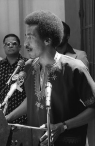 """Smokey Robinson talking about Stevie Wonder on """"Stevie Wonder Day"""" in Los Angeles11-18-1974© 1978 Bobby Holland - Image 4804_0033"""
