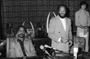 Stevie Wonder and Berry Gordy during a contract signing and album delivery at Berry Gordy