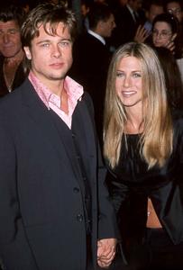 "Brad Pitt at the Premiere of""Fight Club"" with girlfriend Jennifer Aniston.  10/06/98. © 1999 Glenn Weiner - Image 4811_0100"