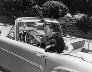 Robert Horton in his new Edsel convertible, with his dog Beau-James1966Photo by Joe Shere - Image 4820_0013