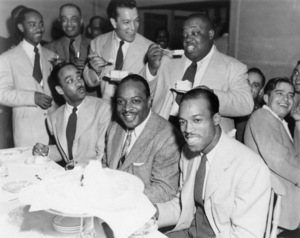 Count Basie celebrating his birthday in Hollywood with Buck Clayton, Earle Warren, Jimmy Rushing and Jo Jones1943** I.V.M. - Image 4861_0011