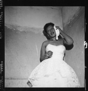 Billie Holiday in her dressing room at the Crescendo on the famed Sunset Strip in Hollywood 08-12-1955 © 1978 David Sutton - Image 4861_0121