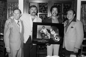 George Albert (Publisher Cashbox Magazine), Mike Luska and Smokey Robinson1983 © 1983 Bobby Holland - Image 4874_0009