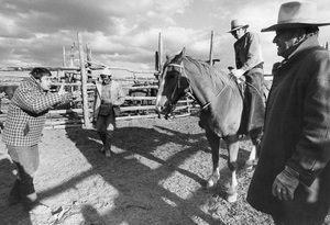 """Director Mark Rydell and John Wayne in Colorado during the making of """"The Cowboys"""" 1972 Warner Brothers © 1978 Bob Willoughby - Image 4951_0002"""
