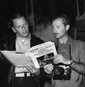 "Photographer David Sutton with Frank Sinatra during the making of ""Von Ryan"
