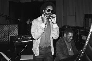"Stevie Wonder and Dizzy Gillespie recording ""Do I Do"" at Wonderland Studios 1979© 1979 Michael Jones - Image 4991_0007"