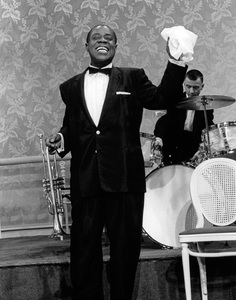 Louis Armstrong with drummer Barrett Deemscirca 1956 © 1978 Gene Trindl - Image 5062_0013