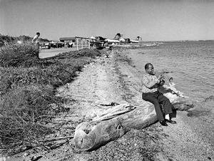 Louis Armstrong all by himself on the shore of the U.S. Navy base on Guantanamo Bay, Cuba1962 - Image 5062_0071