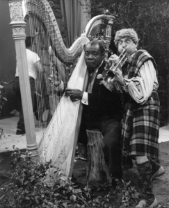 "Louis Armstrong and Harpo Marx in ""Swingin"