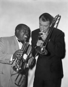 "Louis Armstrong and James Stewart in ""The Glenn Miller Story""1953** I.V. - Image 5062_0109"