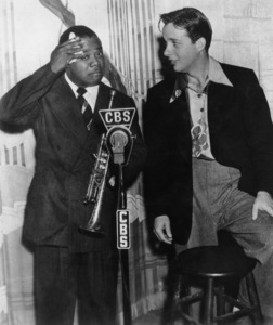 Louis Armstrong and Bob Crosby rehearsing at the Palomar Ballroom in Los Angeles for a coast-to-coast broadcastMarch 1939** I.V. - Image 5062_0113