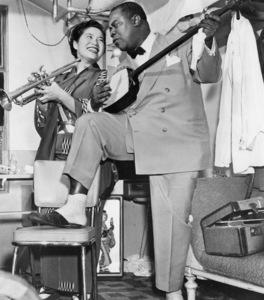 Louis Armstrong playing the Samisen (Japanese violin)circa 1950s** I.V. - Image 5062_0117