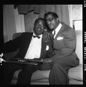 Louis Armstrong and Sammy Davis Jr. backstage at The Crescendo in Hollywood, CA1955© 1978 David Sutton - Image 5062_0121