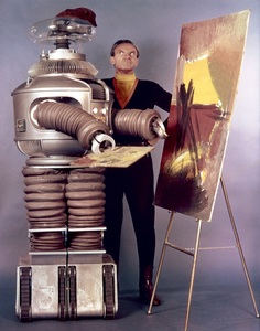 """""""Lost in Space"""" Jonathan Harris & Bob May (Robot) circa 1966 © 2009 Space Productions ** I.A. - Image 5095_0104"""