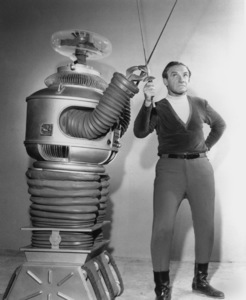 """""""Lost in Space"""" Jonathan Harris & Bob May (Robot) circa 1965 © 2009 Space Productions ** I.A. - Image 5095_0149"""