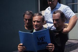 """""""Lost in Space"""" Jonathan Harris, John Chambers (top specialist of 20th Century-Fox makeup dept.)1967 © 2013 Synthesis EntertainmentPhoto by Gene Trindl** I.A. - Image 5095_0223"""