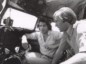 John Travolta and David Frostin his vintage DC 3 Airplane, c. 1977.**H.L. - Image 5181_0023