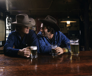 Sam Elliott and Michael Whitney in an advertisement for Falstaff Beer1972© 1978 Sid Avery - Image 5198_0008