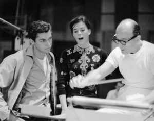 """Richard Beymer, Natalie Wood and Johnny Green at a recording session for """"West Side Story""""1961 United Artists** B.D.M. - Image 5373_0056"""