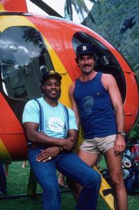 """Magnum P.I.""Roger E. Mosley, Tom Selleck1982 CBS © 1982 Gene TrindlMPTV - Image 5412_0033"